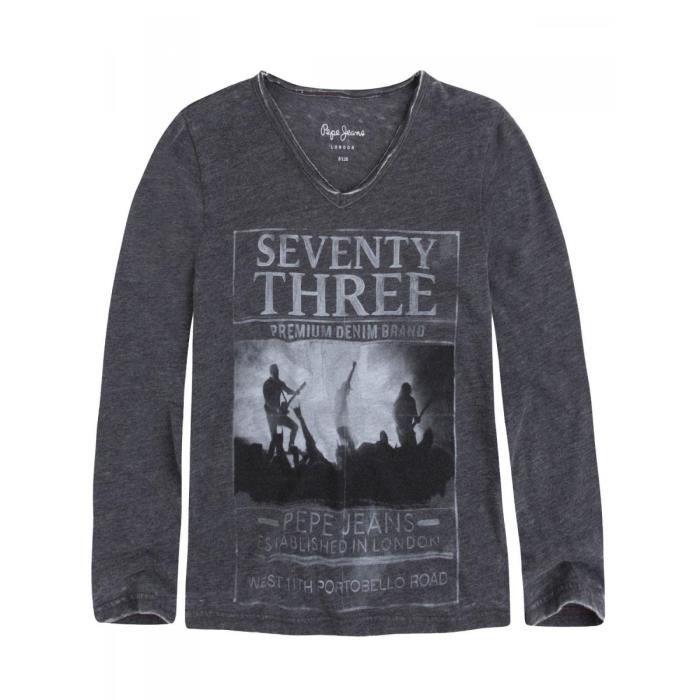 1590fa69b PEPE JEANS - T-shirt coton polyester gris manches longues ado garçon pepe  jeans