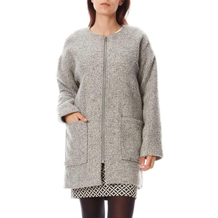 02d0f192d957 Manteau oversize laine bouillonnée - gris chine Gris Gris chine ...