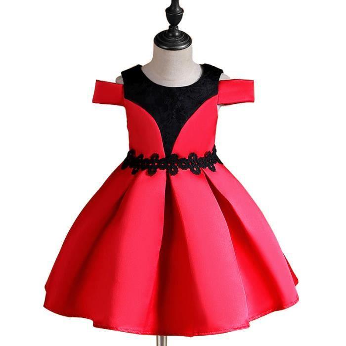 8ada201bdb0 Robe Fille Cérémonie épaule Impression Robe Enfant 4-12 ans Rouge ...