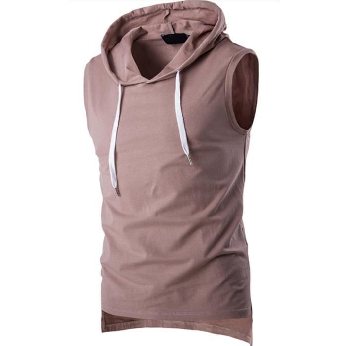 961ce36a193ba T Shirt Homme Coton Capuche Sans Manches Gilets-DéBardeur Homme De ...