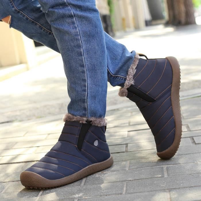 1045250c747661 Casual En Lined Cheville Neige Pour De Fourrure bleu Plein Bottes Hommes  Chaussures D'hiver Spentoper ...