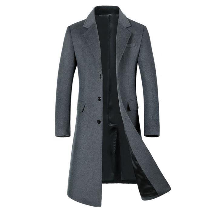 Pour Hommes Outwear Chaud Button Long Smart Manteaux Gris Trench Veste Pardessus Laine Hiver qwd5UwC
