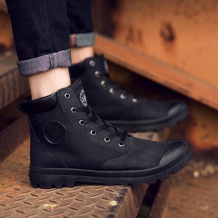 Bottes pour Hommenoir 44 Mode homme Martin High Top Chaussures de toile Casual Chaussures de marche Respirant_34033