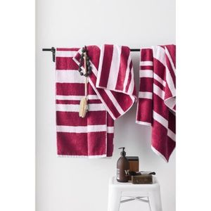 FINLANDEK Set de 2 Draps de douche 70x140 cm + 1 Serviette 50x100 cm KYLPY rayures framboise et blanc