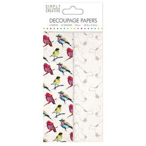 LA FOURMI Papier Découpage Oiseaux Vibrants 18,8x35cm x 4fl. (2x2 mod les)