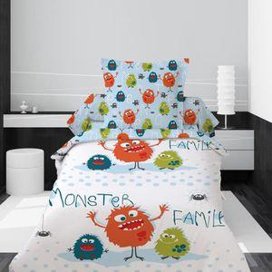HOUSSE DE COUETTE SEULE Housse de couette 140x200 Monster Family + 1 taie