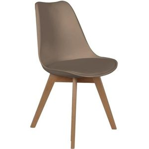 CHAISE Chaise scandinave avec coussin - Taupe