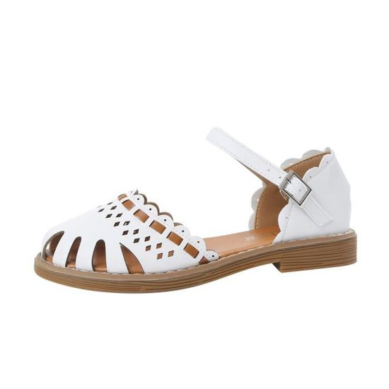 Femmes chaussures plates talon creux respirant antidérapants Boucle Sangle Sandales blanc Blanc Blanc - Achat / Vente slip-on
