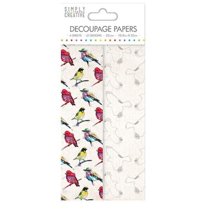 LA FOURMI Papier Découpage - Oiseaux Vibrants - 18,8x35cm x 4fl. (2x2 modèles)