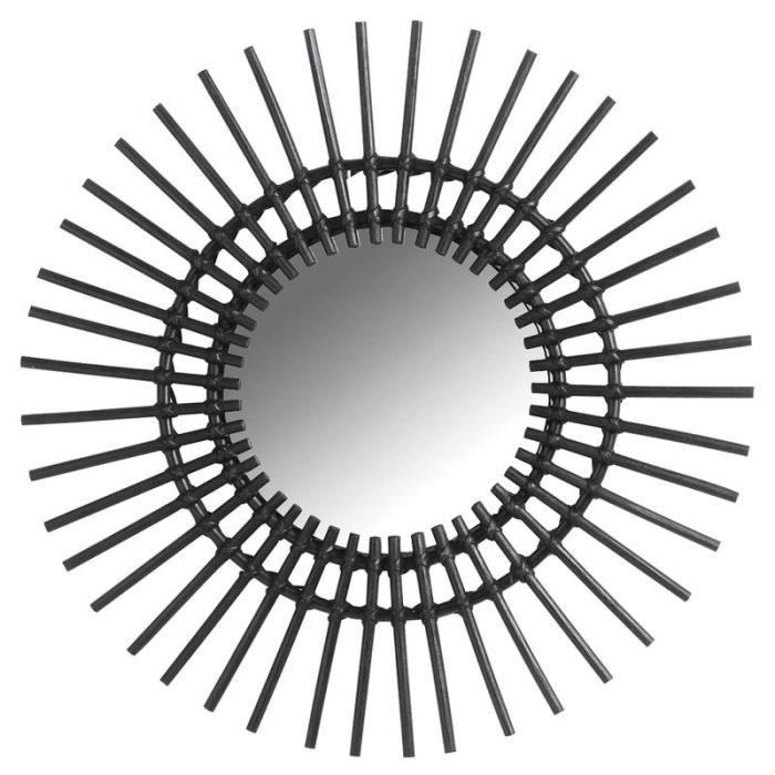 Miroir mural soleil en rotin noir 60 cm achat vente for Miroir 60 cm de large