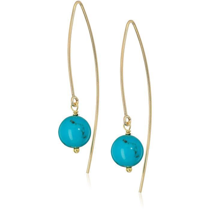 Womens Gold Filled Marquis With Beads Dangle Earrings W5IKS