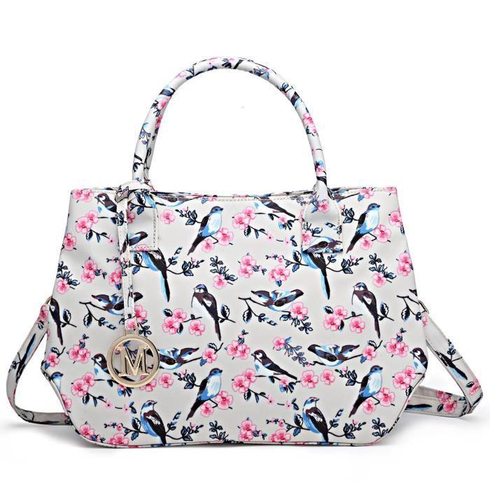 Dames Sac fourre-tout Sac bandoulière Oiseau mignon frais de conception de fleur pour les filles Femmes ZA1FN