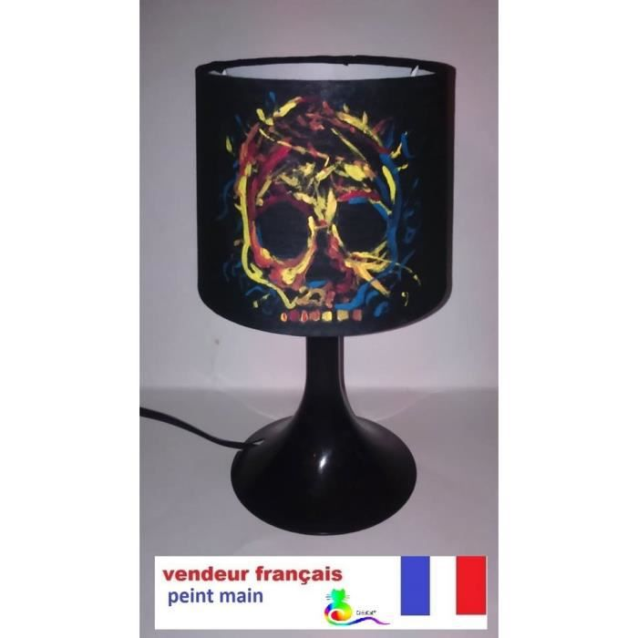 lampe chevet creacat tete de mort multicolore peint main - achat