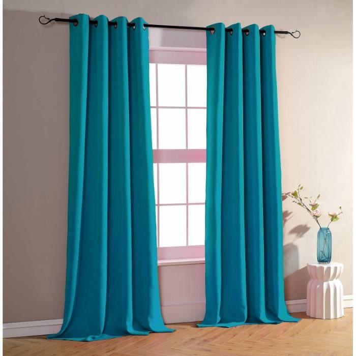 double rideaux turquoise achat vente double rideaux turquoise pas cher black friday le 24. Black Bedroom Furniture Sets. Home Design Ideas