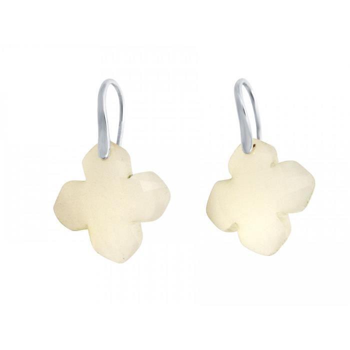 Gemshine - Dames - Boucles doreilles - 925 argent - Agate - Gris clair - GEM - 2,5 cm