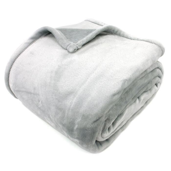 couverture polaire 220x240 cm microfibre 100 polyester 320 g m2 velvet gris perle 240x220. Black Bedroom Furniture Sets. Home Design Ideas