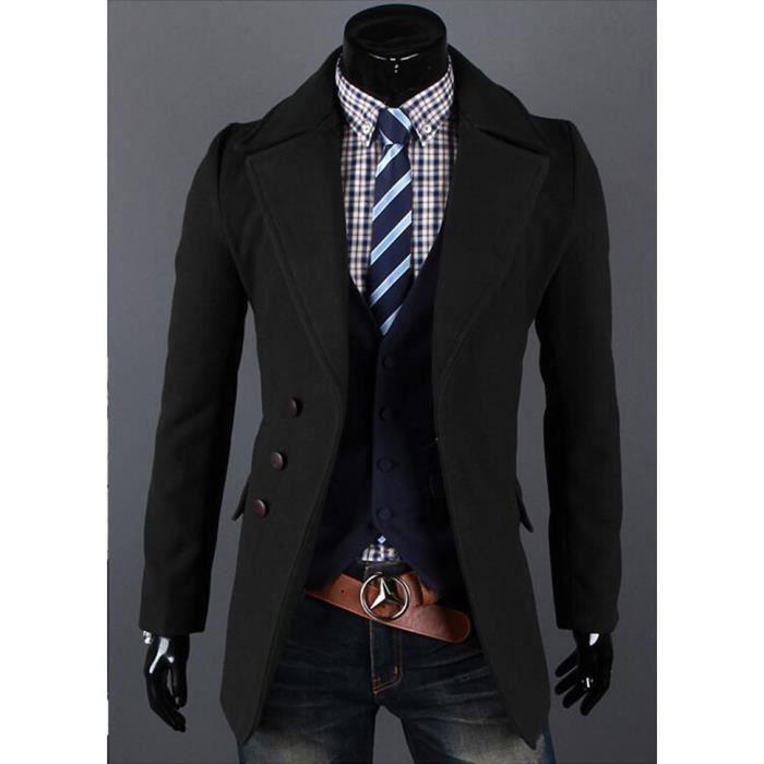 manteau homme long grand col roul couleur pure noir achat vente manteau caban cdiscount. Black Bedroom Furniture Sets. Home Design Ideas