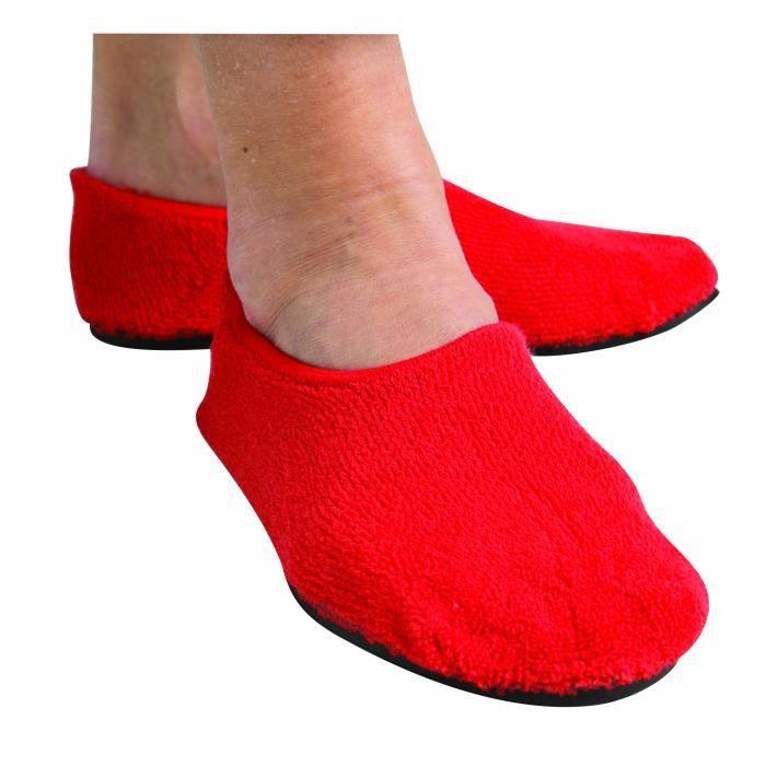 Non Skid Slipper Socks - Semelle en caoutchouc anti-dérapante pour l'automne Gestion - Prévention - Rouge TPRM3 Taille-S