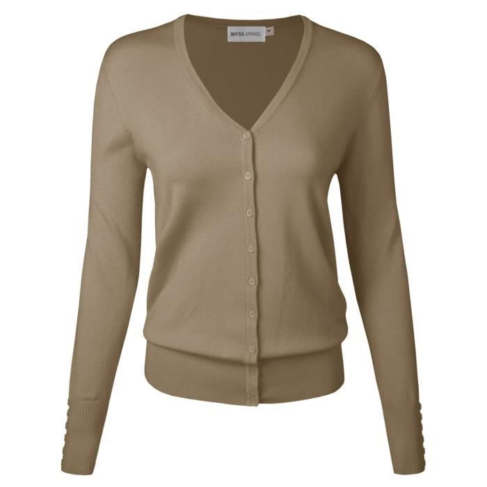 Womens Long Sleeve Button Down V Neck Knit Sweater Cardigan For S