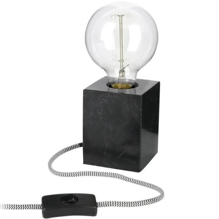 Poser 10cm À H Lampe Marbre Noir En Carrare Cube jq5RA34L