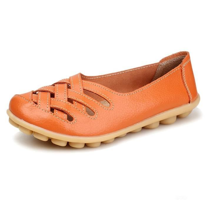 Women's Casual Leather Loafers Hollow Out Sandal Slip-on Flats Shoes ZTUFB Taille-39 Ydly9kf