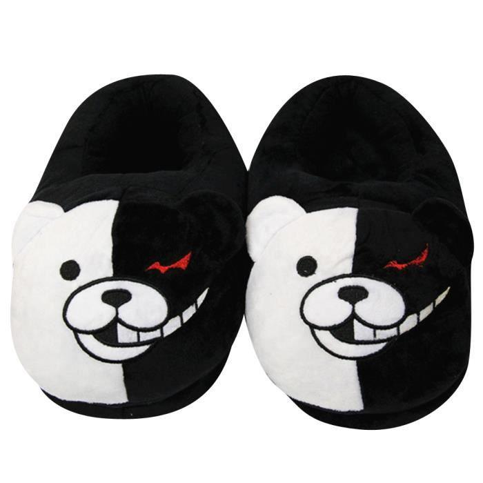 Pantoufles Femme Homme Ours noir et blanc En Peluche Hiver Populaire BGD-XZ161noir37