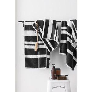 FINLANDEK Set de 2 Draps de douche 70x140 cm + 1 Serviette 50x100 cm KYLPY rayures noir et blanc
