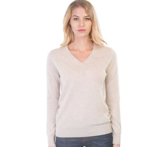 Womens 100 Cashmere Sweater Slim Fit Pullover With Elbow Patches