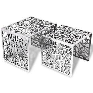 TABLE BASSE Table auxiliaire carrée 2 pièces Aluminium Argenté