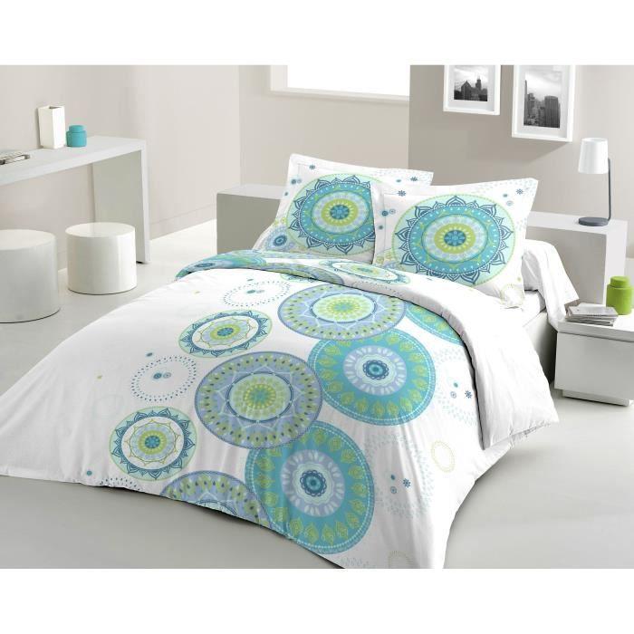 Matière : 100% coton tissé serré 54 fils - Dimensons : 240x260/ 65x65 cm - Coloris : blanc, turquoise et vertPARURE DE COUETTE