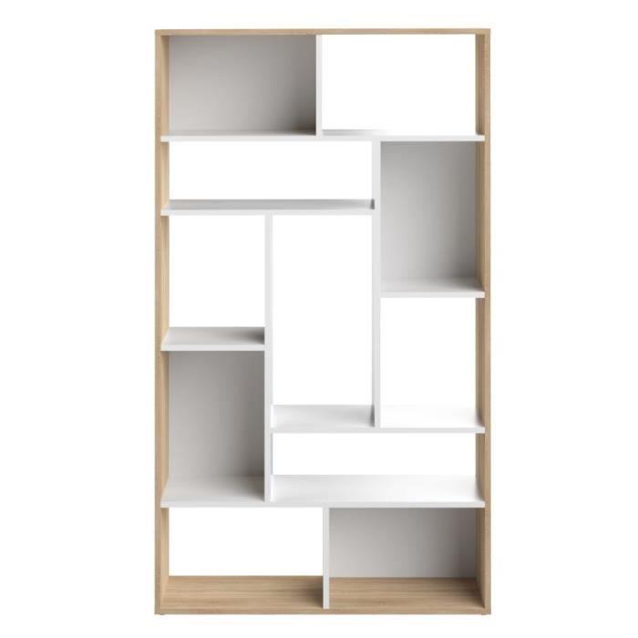 SEOUL Bibliothèque - Décor chêne et blanc - L 91 x P 33x H 163 cm