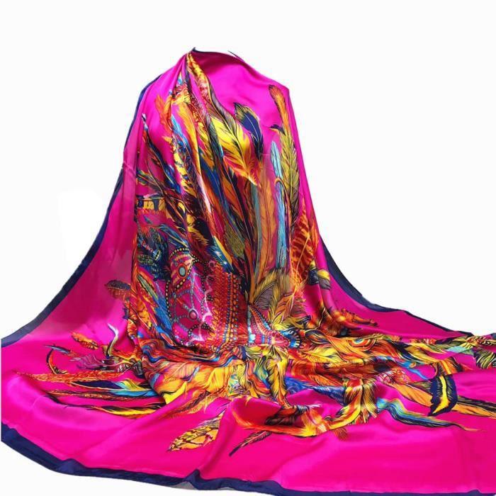 Basilesmile®Foulards Hijab impression femmes Longue Wrap châle dames  écharpe en soie-satin carré CQQ71103346HOT beecb911a06