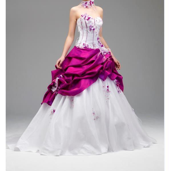 Robe de mariee rose fushia