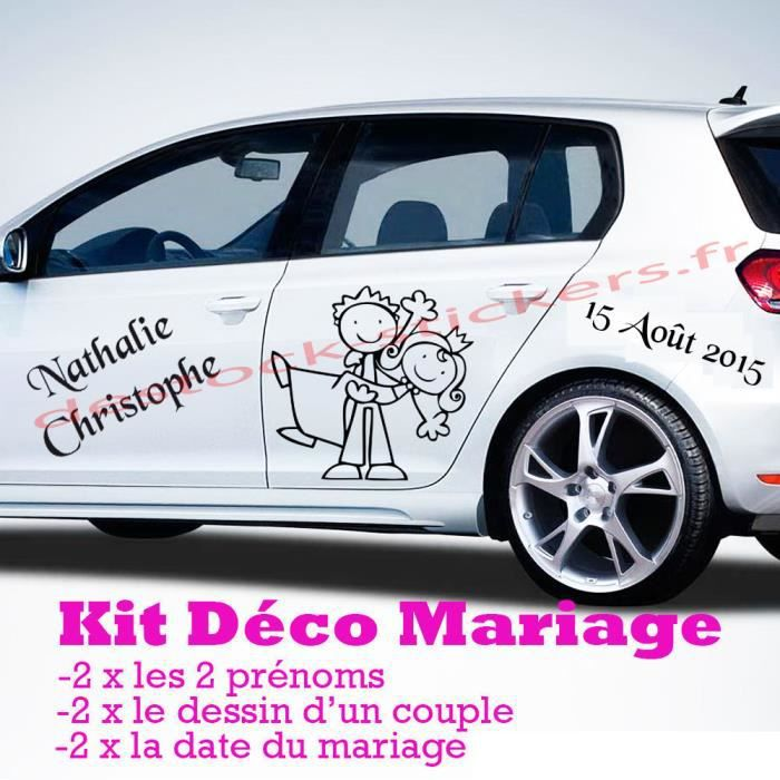 sticker mariage kit complet d co voiture achat vente stickers cdiscount. Black Bedroom Furniture Sets. Home Design Ideas