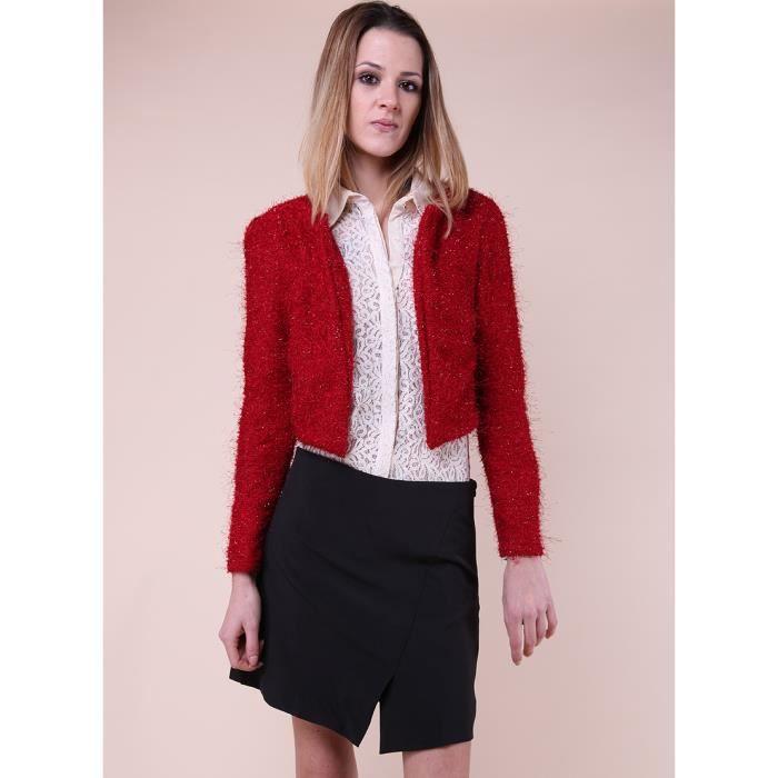 gilet court rouge achat vente gilet cardigan 2009985726736 cdiscount. Black Bedroom Furniture Sets. Home Design Ideas
