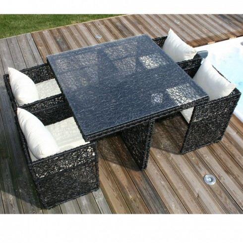 Salon de jardin Table et 4 fauteuils encastrables - Achat / Vente ...