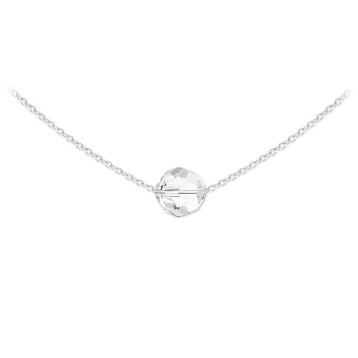 a3b031ec9b6 Collier Ras de Cou Argent 925 Perle Ronde 8mm Swarovski Element - Crystal