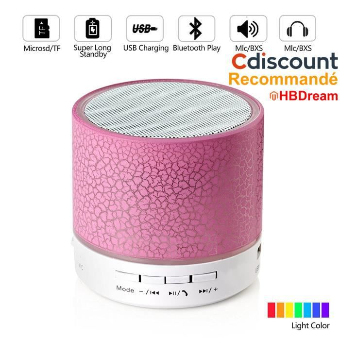 A9 Mini Haut-parleur Stéréo Sans Fil Bluetooth Portable Avec Lampe Led Intelligente Port Usb Et Carte Tf (rose)