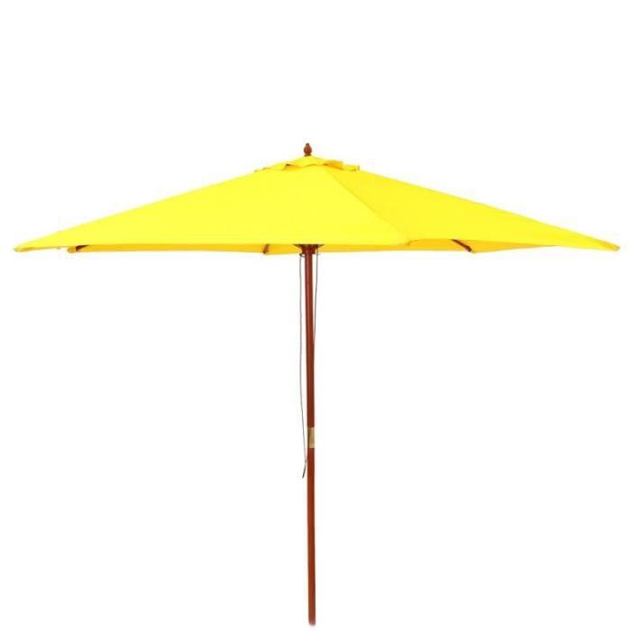 Parasol droit rond 3m en bois jaune LENA   L 300 x l 300 x H 250