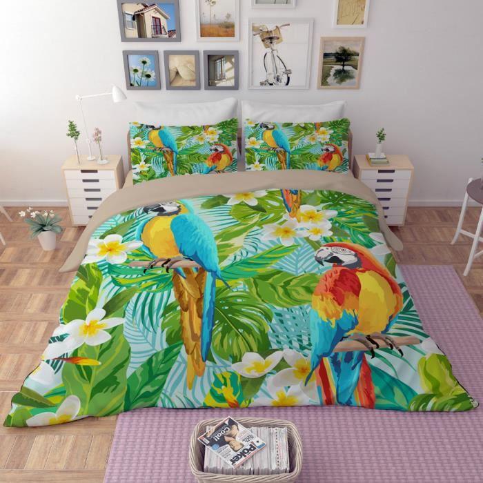 parure de lit perroquets 200 230 cm 3d effet 4 pieces achat vente housse de couette cdiscount. Black Bedroom Furniture Sets. Home Design Ideas