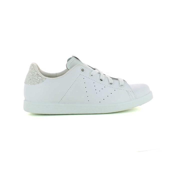 profitez de la livraison gratuite Nouvelles Arrivées nouvelle collection Basket basse victoria 125104 kid blanc lacets cuir Blanc ...