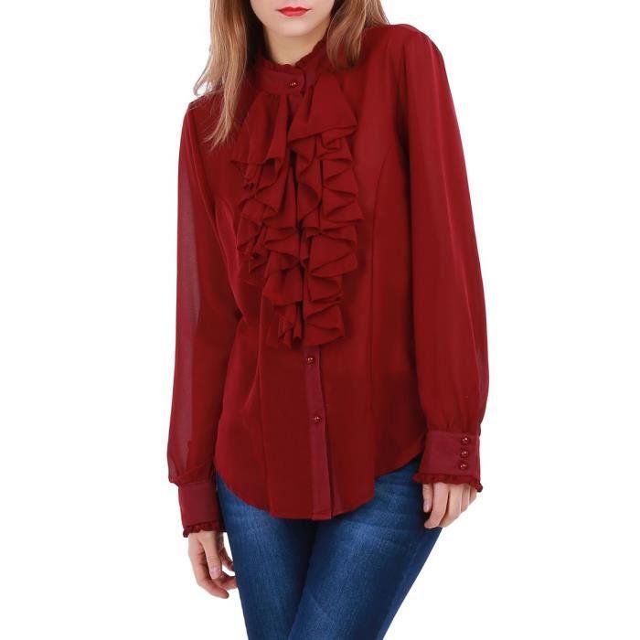 la modeuse chemisier femme fluide col montant rouge rouge achat vente chemisier blouse. Black Bedroom Furniture Sets. Home Design Ideas