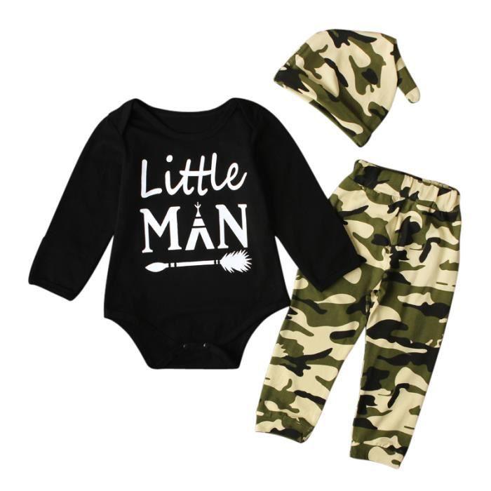90ce3e8eea3a2 Ensemble de vêtements Body Bébé Pyjama Garçon Tenue Camouflage 3 PCS Ens