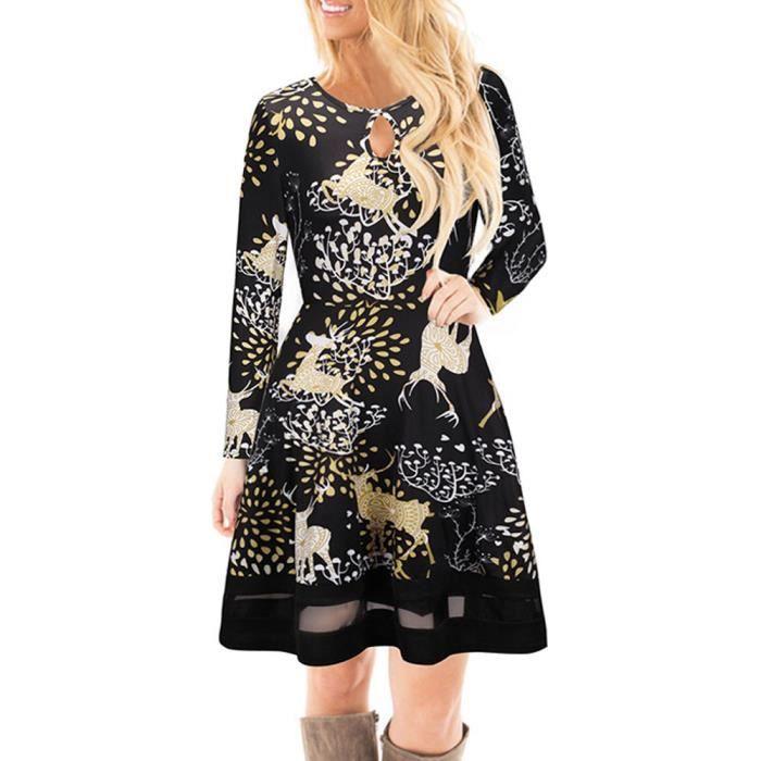 5e05e83918f Les femmes de Noël Robe Imprimée dentelle Manches longues pour femmes Robe  Mini  Noir