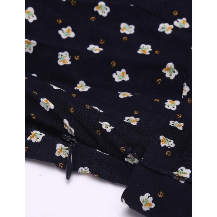 A Line Robe Femme Cross V Cou à manches Longues Floral avec ceinture