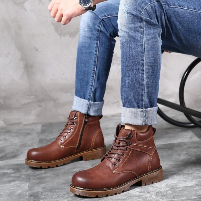 Botte Homme coréenne High Top en cuir de vache Lace Up Vintage cheville hommes marron taille38