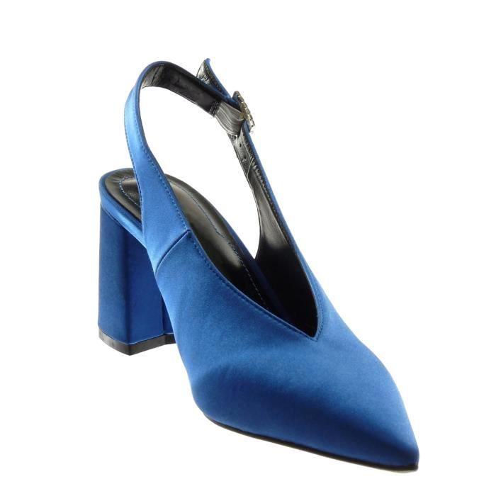 54 CM boucle strass Escarpin 303 T 8 diamant Chaussure Mode bloc 35 femme Bleu Decolleté Angkorly Talon haut 5 ouverte arrière qUZ0pWw