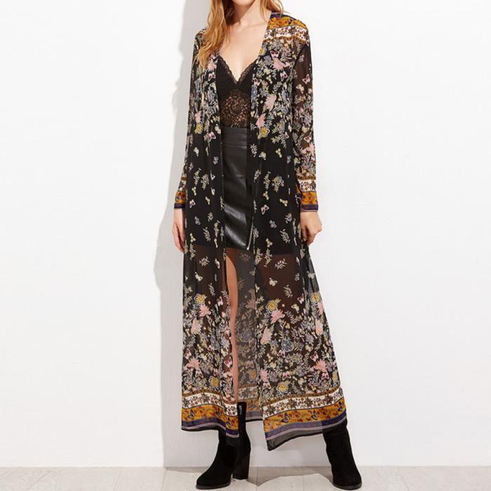 Em7700685 femmes Kimono Top Floral Print Manteau Party Outwear Lansman Cardigan Long vqan5wfvdH