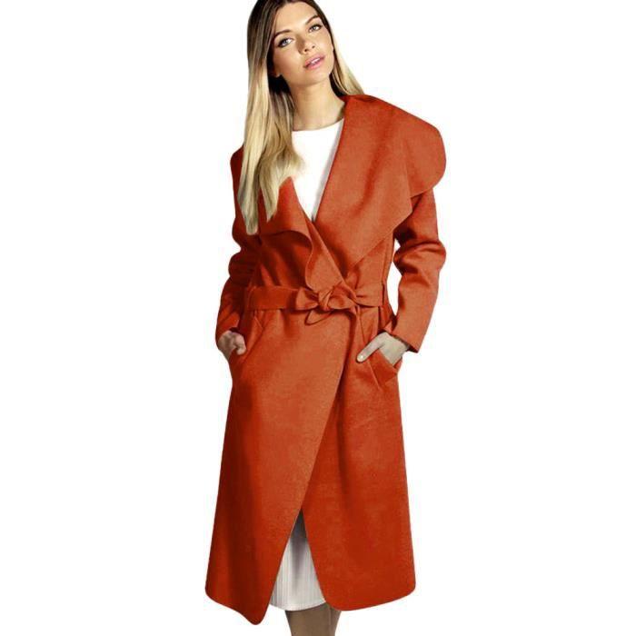 Ceinture Mélangée Long Poche Large Orange Manteau En Laine Lapel D'hiver Outwear Femmes De 6wRxUtfxq