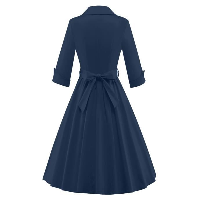50s 40s élégant 60 femmes Rockabilly 3-4 manches bowknot cocktail Vintage swing Bridsmaid Robe 2NV1VE Taille-36